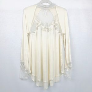 Free People Cream Floral Appliqué Mesh Tunic Small